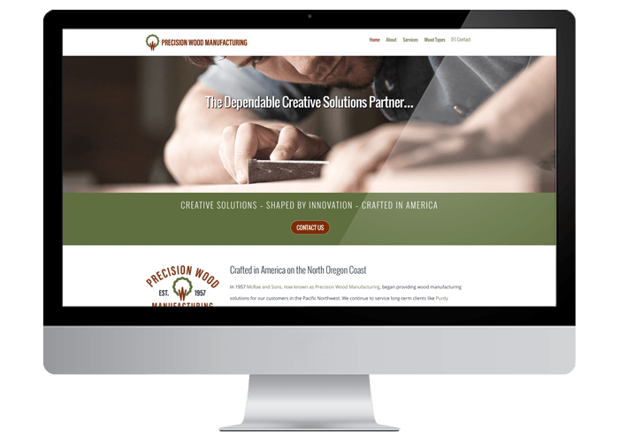 Precision Wood MFG WordPress Website Design title=Precision Wood MFG WordPress Website
